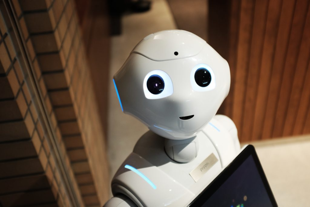 Robot looking up at the camera.